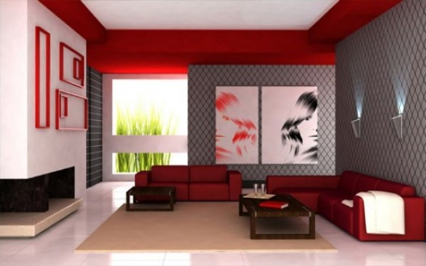 Modern Minimalist Living Room Decorating Design with Red Color