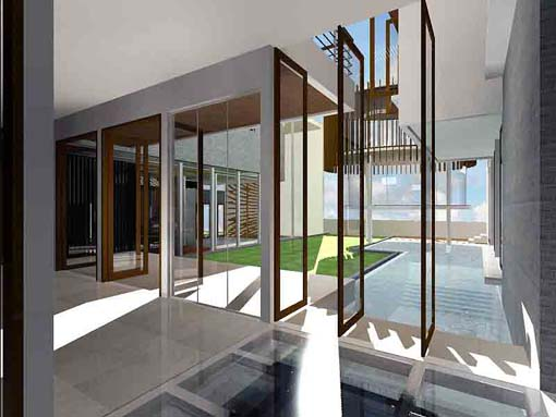 Modern tropical courtyard house design scheme luxury for Tropical house plans with courtyards