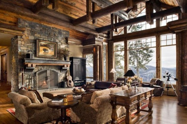 ... Charming Rustic Family Room Design Concept ...