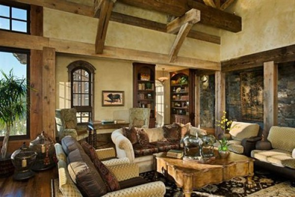 Futuristic Rustic Family Room Design Interior