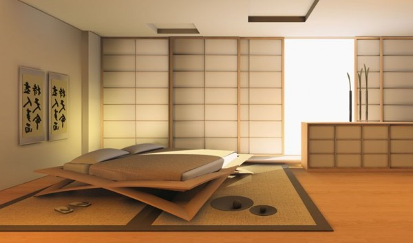 Classic Japanese Bedroom Design Image